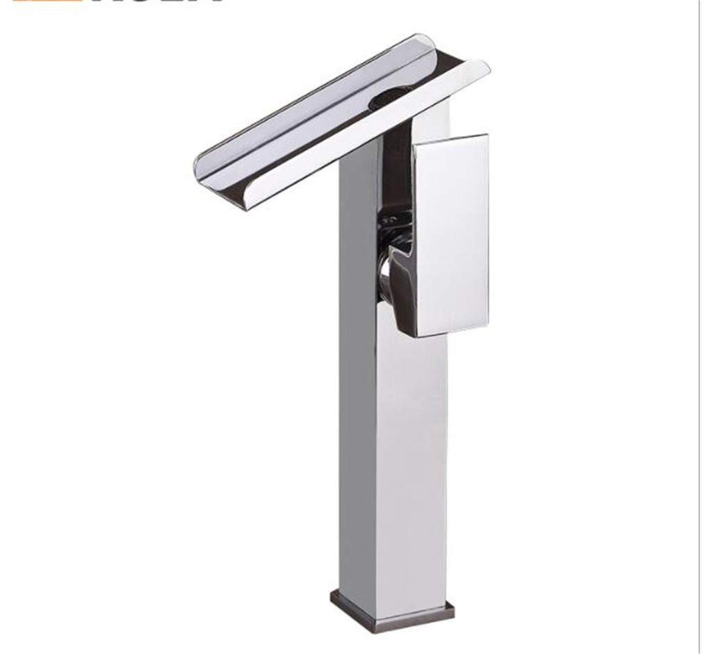 Bathroom Sink Basin Lever Mixer Tap Quadrate Chrome-Plated Faucet Wide Mouth Waterfall Basin Faucet