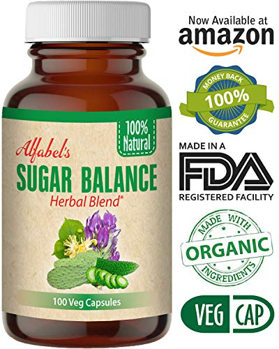 All Natural Sugar Balance Herbal Supplement – 100 Vegetable Capsules – 15 All Natural Raw Ingredients – Bitter Melon, Huereque, Alfalfa, Fenugreek, Copalquin, Cactus, Linden Star