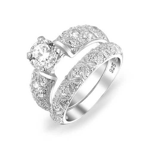 - Vintage Style 1CT Round Solitaire Filigree AAA CZ Engagement Wedding Band Ring Set For Women 925 Sterling Silver