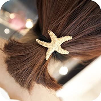 Amazon Com Golden Metal Starfish Star Fish Elastic Stretch