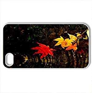 AUTUMN SWIRL - Case Cover for iPhone 4 and 4s (Rivers Series, Watercolor style, White)