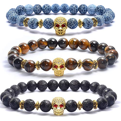 Bohai Jewelry Lava Rock Stone Bracelet Combination Men Women Gemstone Beads Elastic Bracelet 8mm/Gold Head/Lava Stone/Tiger Eye Stone/Blue Weathered Agate