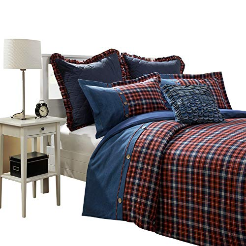 Simple&Opulence 3 Piece Grid Denim Cotton and Flannel Duvet Cover Sets Including 1 Duvet Cover and 2 Pillow Cases (Blue and Red, (Denim Duvet Cover Set)