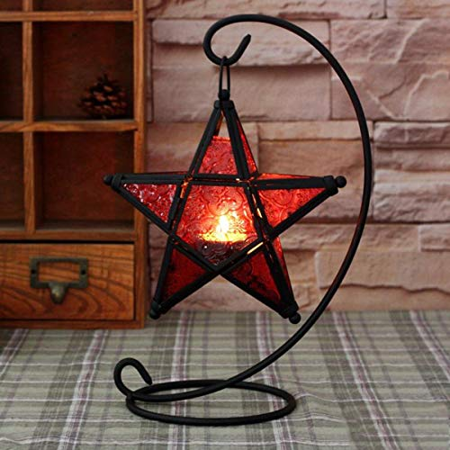 (KINGSO Candle Holder Star Shape European Glass Candlestick Holder Hanging Star Lantern Outdoor Pendant Candle Holder Lamp Moroccan Style Glass Tealight Lantern Red )