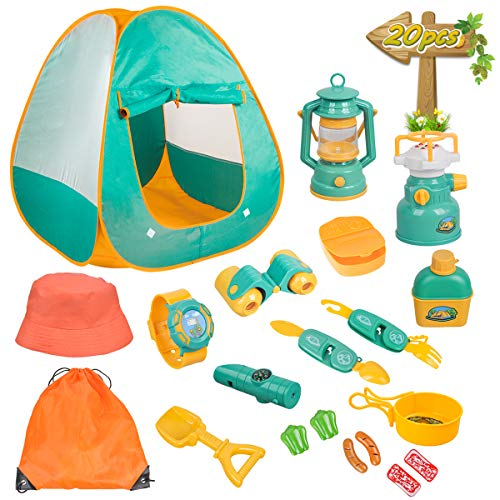 Meland Kids Camping Set with Tent 20pcs - Camping Gear Tool Pretend Play Set for Toddlers Kids Boys Girls Outdoor Toy Birthday Gift -