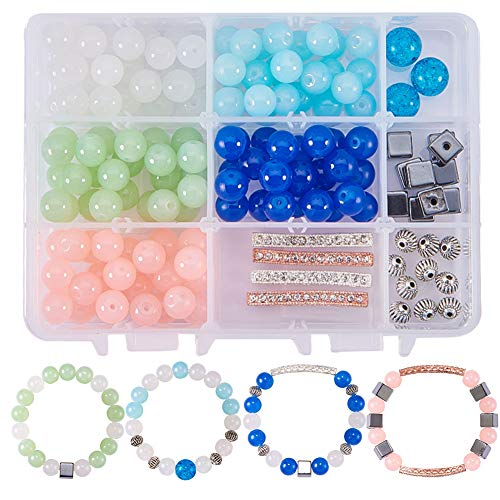 (SUNNYCLUE 1 Box 156pcs Natural Semiprecious Gemstone Beaded Stretch Bracelet Kit DIY Jewelry Making Craft Kit with Rhinestone Bar Spacers, Lantern Beads and Synthetic Hematite Beads, Mixed Color)