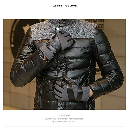 AINIYF Ski Gloves | Men's Leather Mittens Winter Windproof Non-slip Warm Plus Velvet Thicken Outdoor Cycling Bike Full Finger Motorcycle Mittens Winter (Color : Gray) by AINIYF (Image #2)