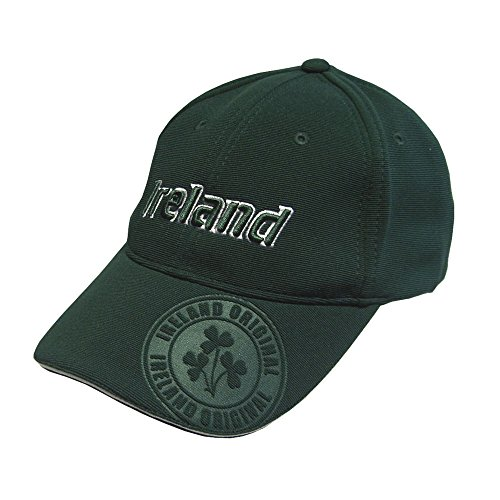 Baseball Cap with Embroidered Ireland Lettering and Embossed Shamrock Crest -