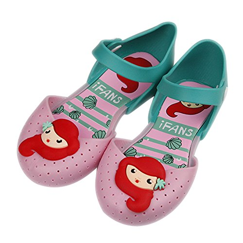 iFANS Girls Mermaid Princess Jelly Shoes Mary Jane Flats for Toddler Little Kids Pink