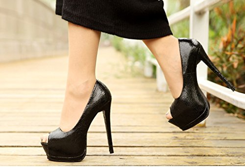 Lizform Womens Peep Toe Platform Pump Pumps Wedding Stiletto Tacchi Alti Neri