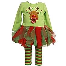 Baby Girl's Christmas Outfits Set Top + Tutu Leggings costume reindeer printed