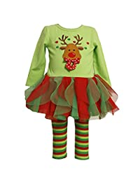 Baby Girl's Christmas Outfits Set Top + Tutu Leggings costume reindeer printed