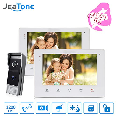 Jeatone 7 Inch Dual Intercom Picture/Video Record 1200TVL Doorbell Intercom Access Control System Video Door Phone Wire Touch Screen Home Security Day/Night Vision SD Card Support(Not included)