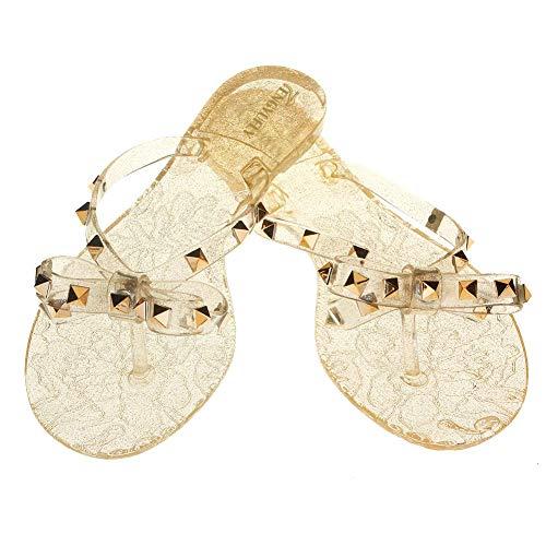 TENGYUFLY Womens Rivets Bowtie Flip Flops Jelly Thong Sandal Rubber Flat Summer Beach Rain Shoes (US9=EU41=25.5CM, - Sandals Clear Strap