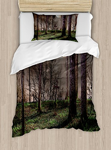 Gothic Duvet Cover Set by Ambesonne, Dark Night in the Forest with Full Moon Horror Theme Grunge Style Halloween, 2 Piece Bedding Set with Pillow Sham, Twin / Twin XL, (Twin Lakes Halloween Night)