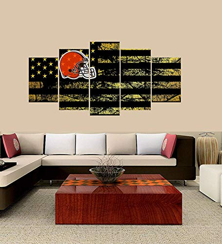 XINGAKA Premium Quality XINGAKAed Wall 5 Pieces / 5 Pannel Wall Decor Cleveland Browns Logo Painting, Home Decor Football Sport Pictures