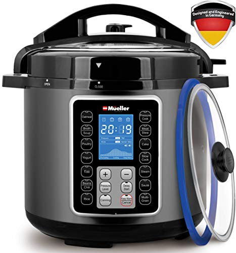 Mueller UltraPot 10-in-1 Pro Series 6Q Pressure Cooker with German ThermaV Tech, Cook 2 Dishes at Once, BONUS Tempered Glass Lid incl, Saute, Steamer, Slow, Rice, Yogurt, Maker, Sterilizer (Graphite)