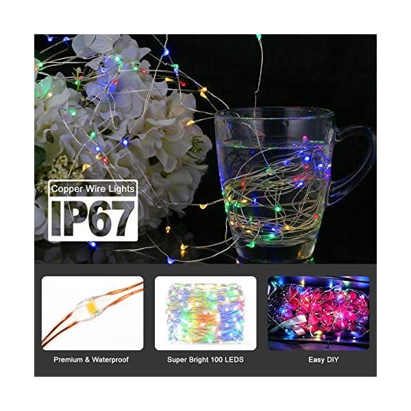 Catene Luminose, BAKTH Stringa Luci LED Impermeabile IP67 per interni/esterni/Natale/Matrimonio e camera da letto 8 Modalità(2 x 10M 100LED,Multicolore) 2 spesavip