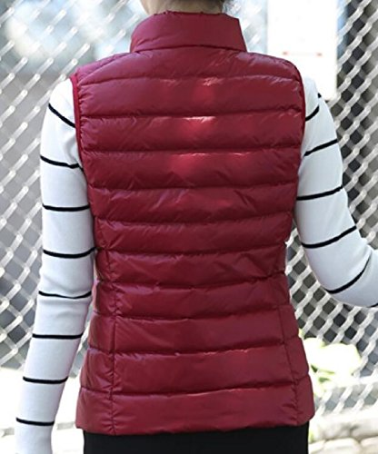 Plus Jacket Size Vest Doufine Women Down Outerwear Casual Red Coats Thin EqFfzf6nw