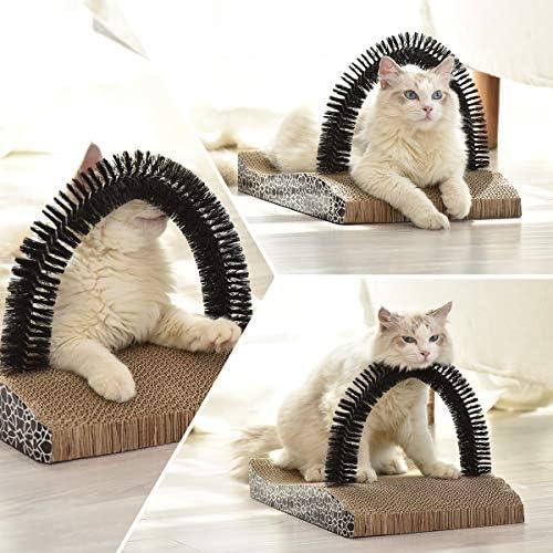 FUKUMARU Pet Fur Grooming Cat Scratching Pads,Cats Self Groomer Massager Scratcher Toy Brush 5