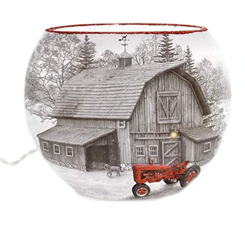 Stony Creek Winter Lighted Oval Glass VASE Glass House Barn Mtt8215 ()