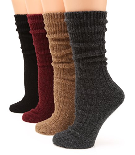 (MIRMARU M113 Women's Premium Winter 4 Pairs Wool And Cotton Blend Crew Socks Collection (Charcoal,Camel,Burgundy,Black),Medium / Shoe Size:6-9.)
