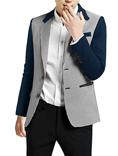 Allegra K Men Houndstooth Pattern Two-Button Closure Blazer Navy Blue (Button Closure Blazer)