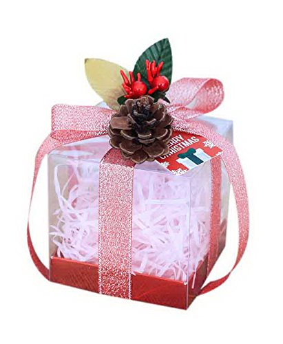 - 10 Pcs Christmas Apple Boxes Transparent Candy Gift Boxes Pink Ribbon + Pine Nut