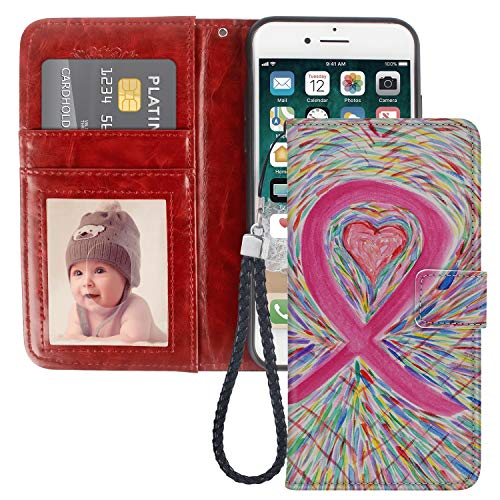 LingHan iPhone 7 8 Plus Breast Cancer Sign Pink Heart Wallet Case PU Leather Cover Shockproof and Multi Slots Magnetic Flip Card Holder Case for iPhone 7 8 Plus 1X