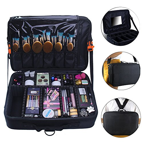 Makeup Train Case 2 layer Multi Functional Professional Makeup Bag Large Make Up Artist Box Cosmetic Organizer with DIY Dividers Movable Mirror for Cosmetics Makeup Brushes Beauty Tool