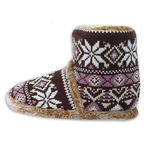 Hüttenschuhe Hausschuhe Fellschuhe Schuhe Pantoffel NORWAY Braun-Rosa