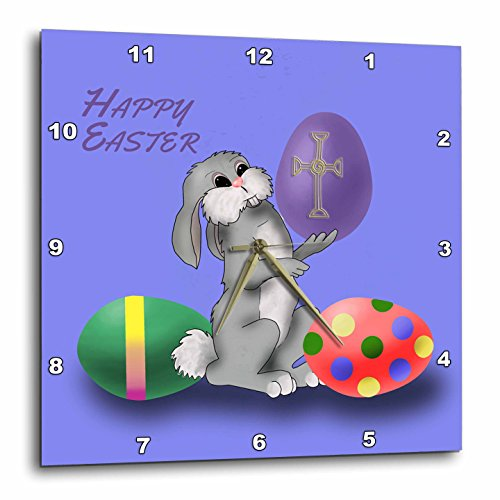 3dRose dpp_205194_2 Cartoon Easter Bunny Holds Up His Favorite Easter Egg Wall Clock, 13 by 13