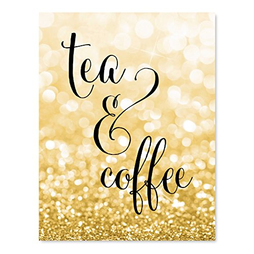 - Andaz Press Wedding Party Signs, Glitzy Gold Glitter, 8.5x11-inch, Tea & Coffee Reception Dessert Table Sign, 1-Pack, Bokeh Colored Party Supplies