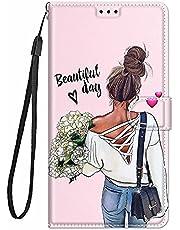 TYWZ Stijlvolle Kleurrijke Geschilderde Full Body Case voor Xiaomi Redmi Note 9 Pro,PU Lederen Portemonnee Flip Kaarthouder Kickstand Boek Stijl Magnetische Cover-Flower Meisje