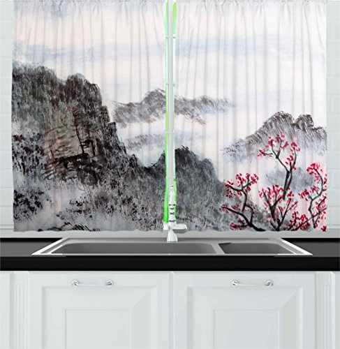 Ambesonne Asian Kitchen Curtains by, Traditional Chinese Painting Landscape Sakura Cherry Tree Cloudy Mountains, Window Drapes 2 Panels Set for Kitchen Cafe, 55W X 39L Inches, Seal Brown White Pink]()