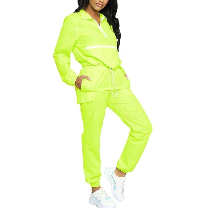 hibote Streetwear Fashion Tide Neon Yellow Trajes de Mujer ...