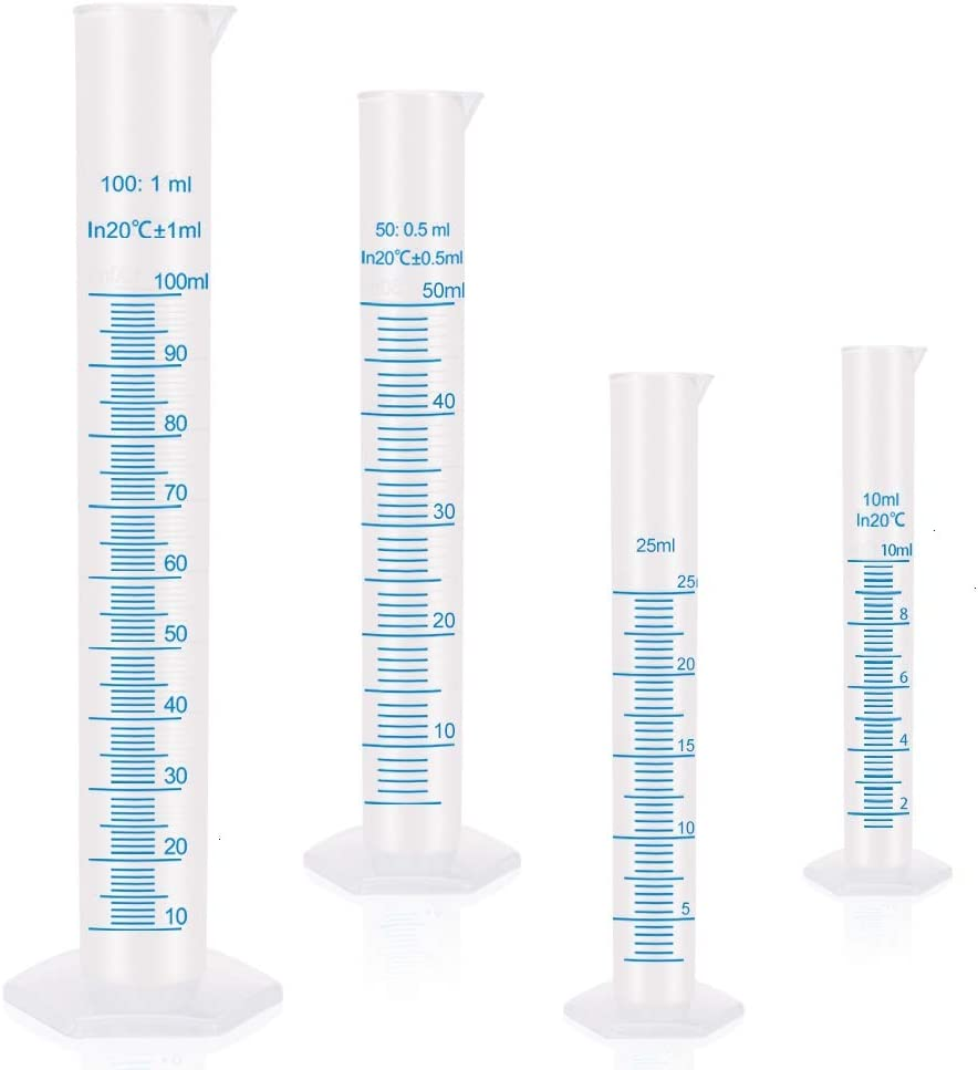 Measuring Cylinder Graduated Cylinder Lab Test Tube Set of 4
