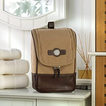 841703dc37ac Amazon.com : Personalized Canvas and Leather Travel Kit : Beauty
