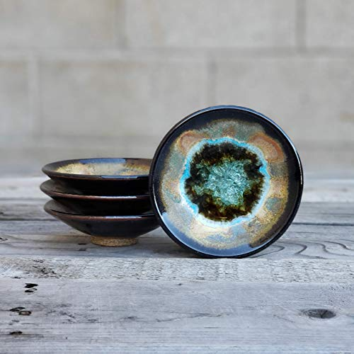 Geode Ring Dish in Sienna and Black, Individual Geode Ring Dish, Fused Glass Dish, Trinket Dish, Soap Dish, Crackle Glass, Candle Holder, Dock 6 Pottery, Kerry Brooks Pottery