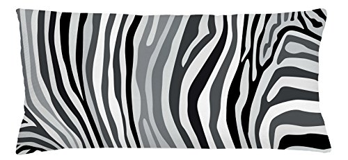 Dinnerware Print (Zebra Print Throw Pillow Cushion Cover by Lunarable, Zebra Pattern Vertical Striped Design Nature Wildlife Inspired Illustration, Decorative Square Accent Pillow Case, 36 X 16 Inches, Black White)