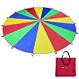 Voilamart Kids Play Parachute, 20FT Play Tents Children Game, 210T Rainbow Outdoor Game, Indoor&Outdoor Picnic Blanket Mats, Party Sports Activities Group Exercise for 16 Children