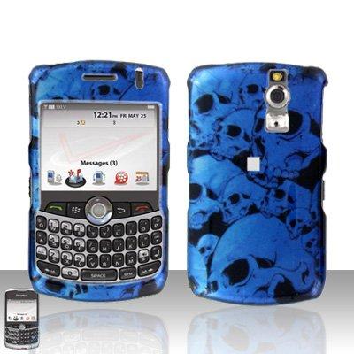 (Blue Black Skull Design Snap on Hard Cover Protector Faceplate Skin Case for Blackberry Curve 8300 8310 8320 8330 + Belt Clip )