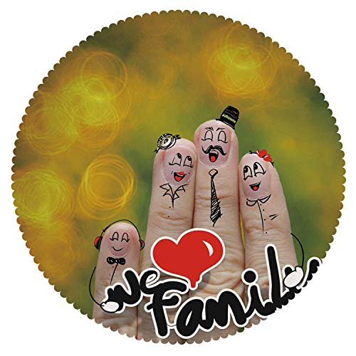 iPrint Multicolor Round Tablecloth [ Family,Happy Finger Family Holding We Love Family Words Hugging Smiling Funny Cute Artwork,Multicolor ] Decorative -