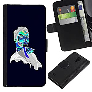 All Phone Most Case / Oferta Especial Cáscara Funda de cuero Monedero Cubierta de proteccion Caso / Wallet Case for Samsung Galaxy S4 IV I9500 // Psychedelic Portrait