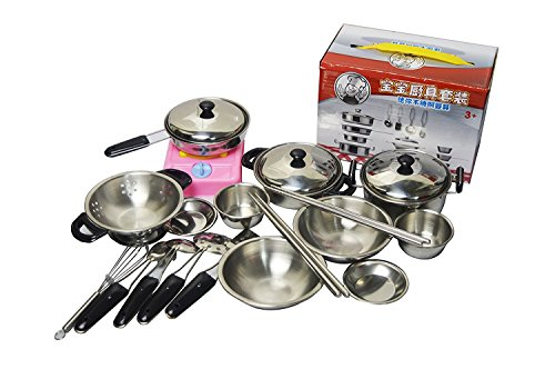 - 20-Piece Stainless Steel Pots and Pans Playset for Kids