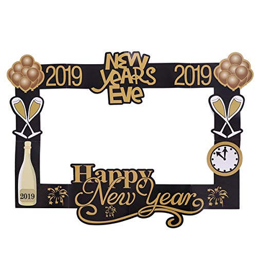 Amosfun New Year Photo Booth Props Photo Frame 2019 Happiness New Years Eve Party Supplies ()