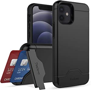 Teelevo Wallet Case for iPhone 12 Mini, Dual Layer Case with Card Slot Holder and Kickstand for iPhone 12 Mini - Black