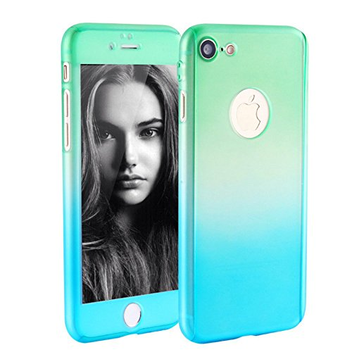 iPhone 6s Case, MAGGICWEI-DL Full Body Coverage Ultra-thin Hard Hybrid PC Plastic with [Slim Tempered Glass Screen Protector] Protective Case Cover & Skin for Apple iPhone 6/6S (Green Blue)