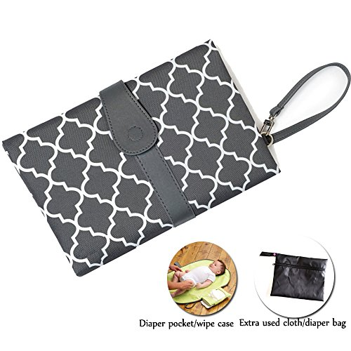 Baby Diaper Changing Pad HLM Waterproof Portable Hand Bag for girls boys infant (2.Gray)