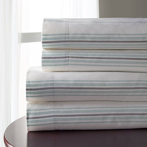 Elite Home Products Inc. Regent Stripe 300 Thread Count 100% Cotton Print Sheet Set Aqua 4 Piece King